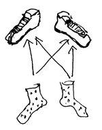 Les deux chaussettes sont inférieures aux deux chaussures